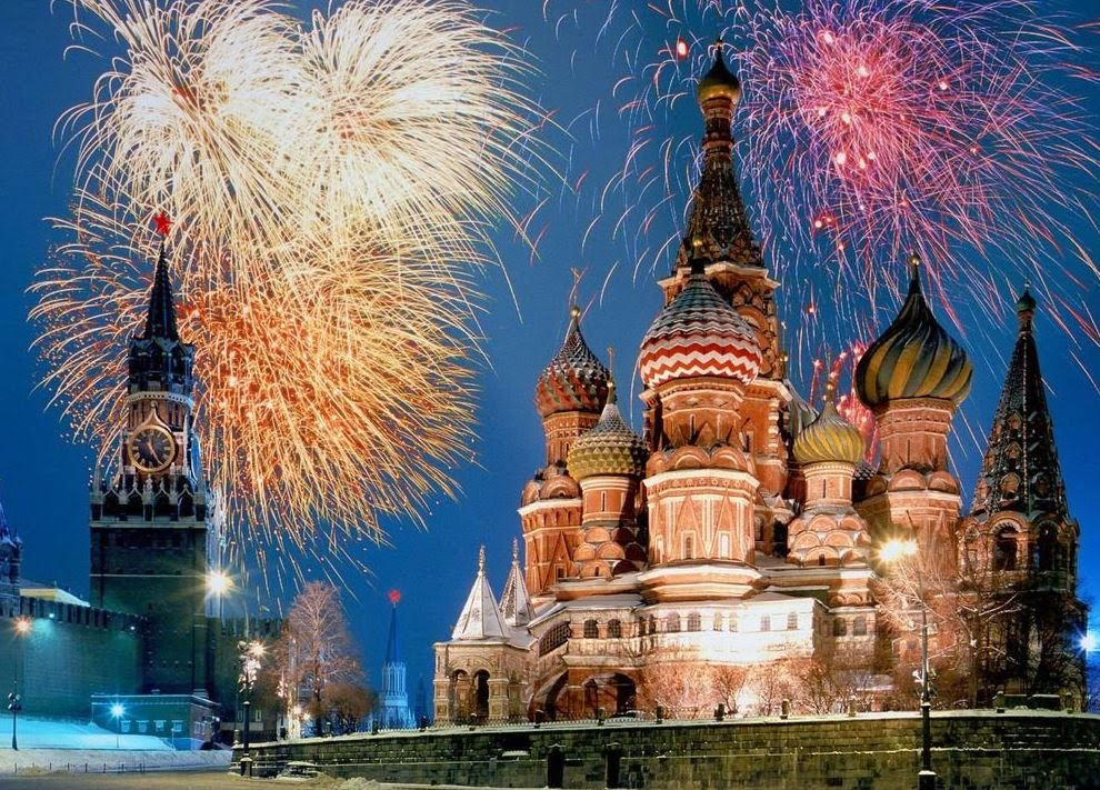 Fireworks in Red Square, Moscow