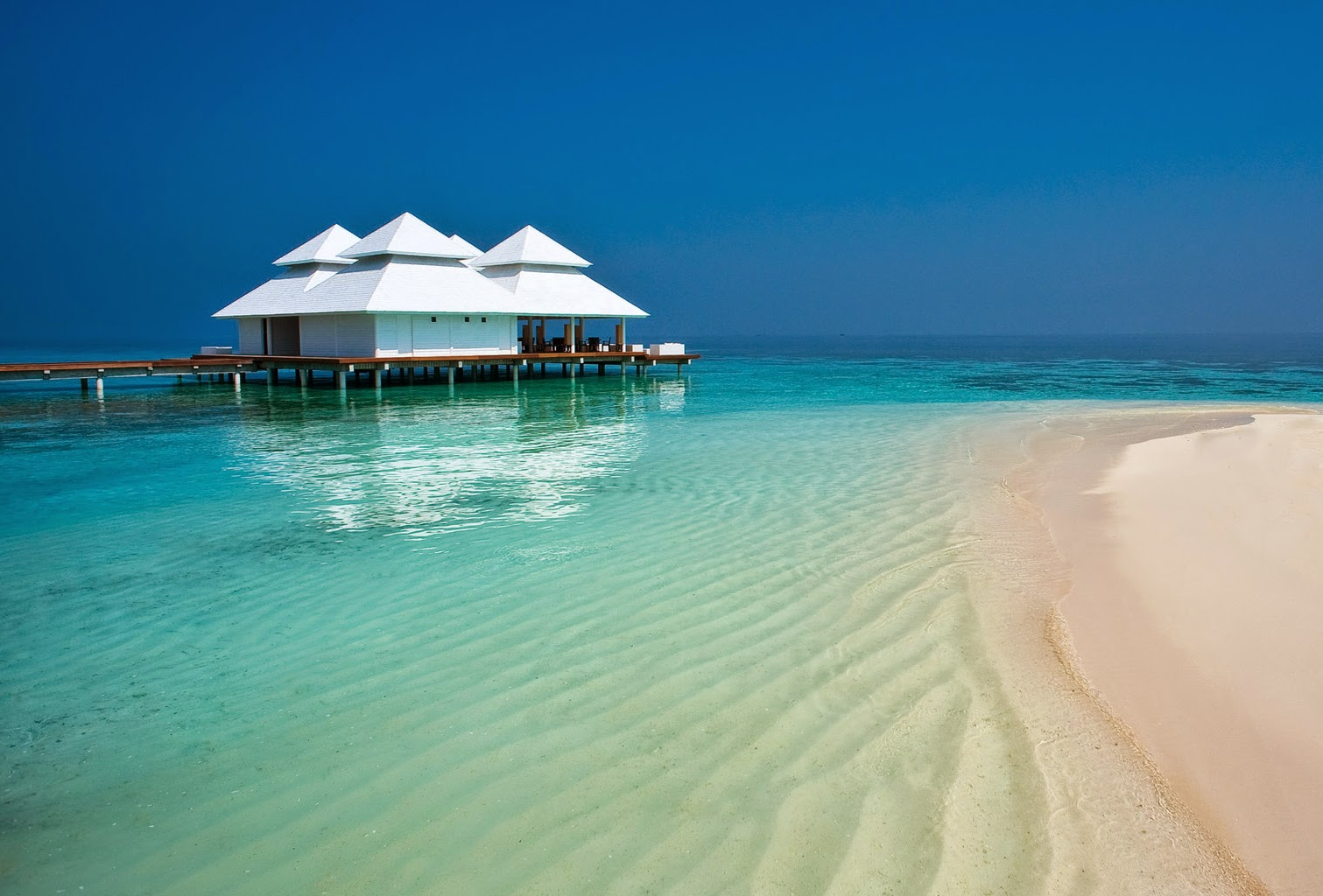 One of the beautiful beaches of the Maldives, with a stilt house.