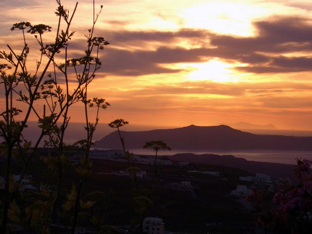 sunset in Pyrgos, Santorini Island, Greece
