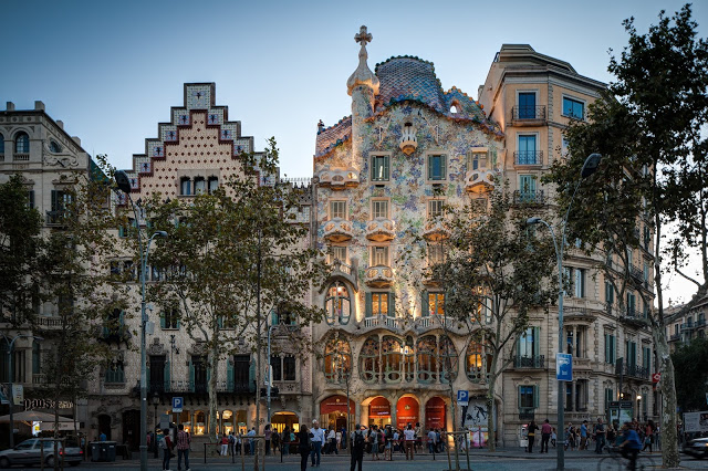 Façade Casa Batlló in Barcelona, Spain