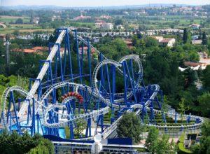 Blue Tornado roller coaster of Gardaland theme park, Italy