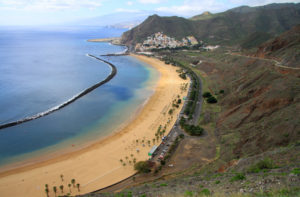 Panoramic view of Playa de Las Teresitas,Tenerife, Canary Islands
