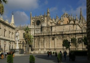 View of the Gothic cathedral of Saint Mary of the See, Seville