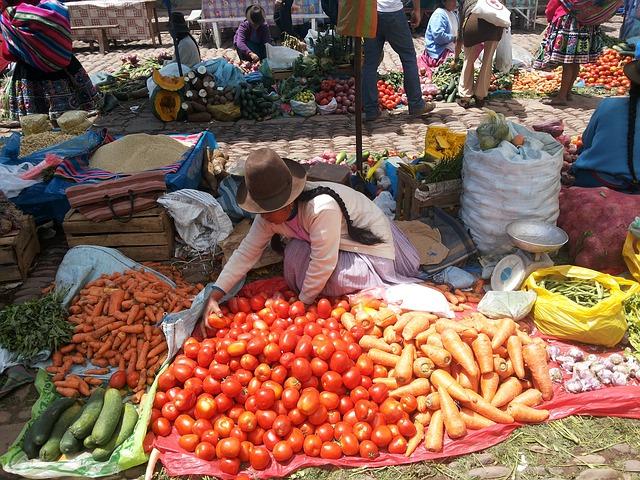 Food in a Cusco market