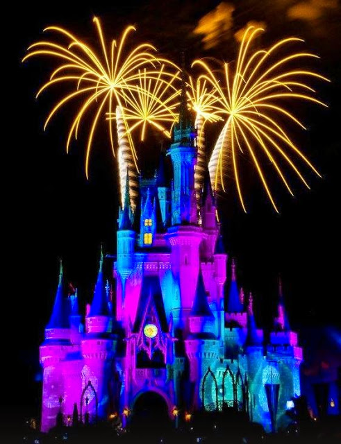 Fireworks diplay at Cinderella Castle, Florida