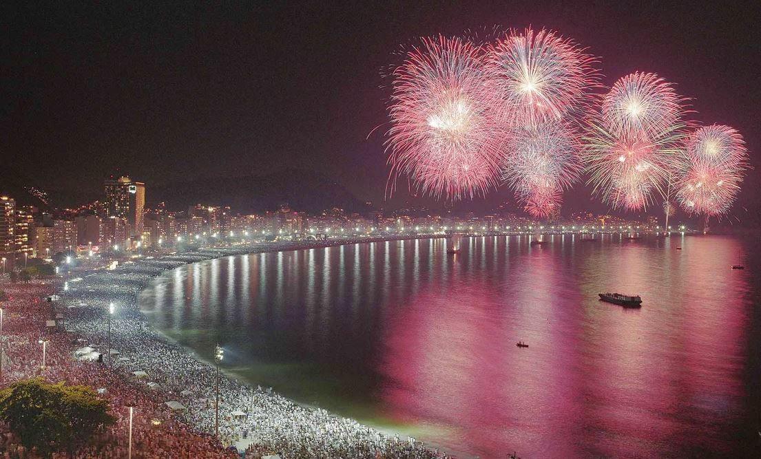 Jubilant fireworks on the beach in Rio de Janeiro
