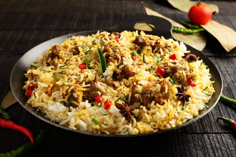 Traditional Christmas food in India: biryani