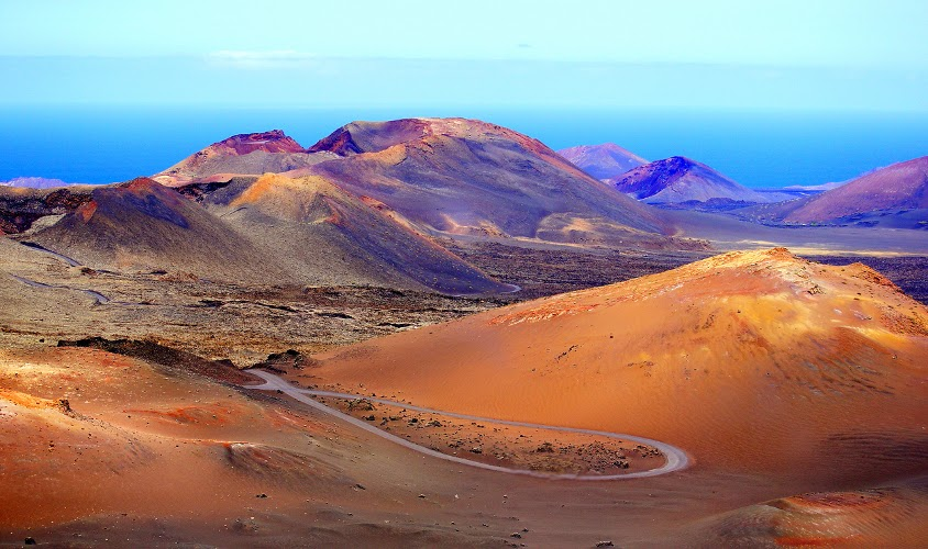 The road approaching Timanfaya National Park, in Lanzarote