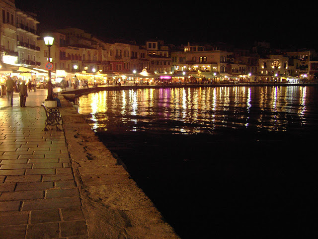 view of the charming port of chania, crete, greece