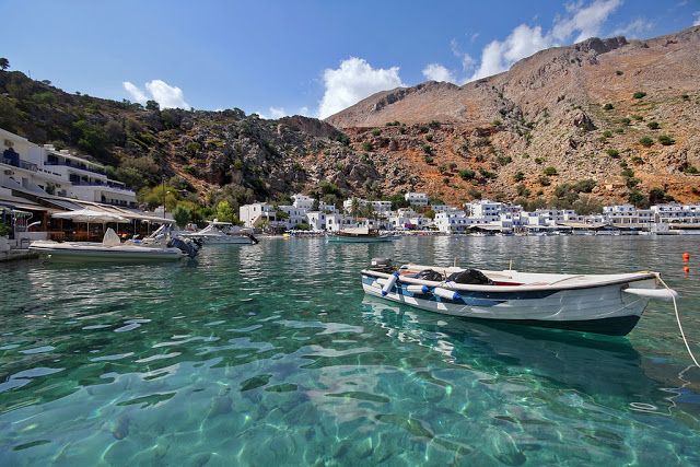view of the fishing village of Loutro, crete, greece