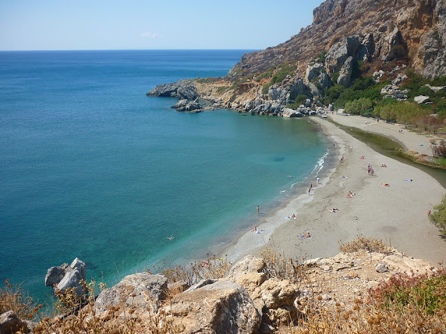 view of preveli beach, crete, greece