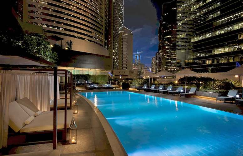 The heated outdoor pool at Conrad Hong Kong