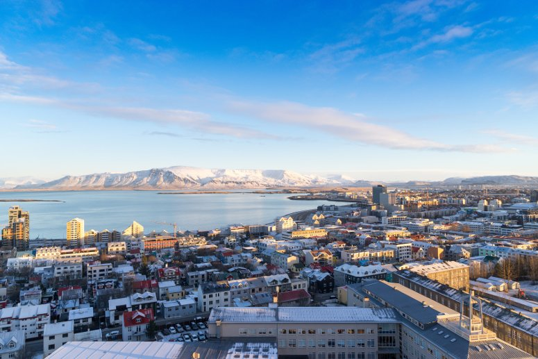 View of Reykjavik from the top of the Hallgrimskirkja Cathedral - Iceland