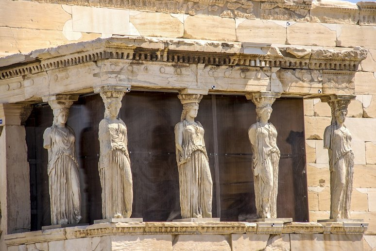 Porch of the Caryatids, Erechtheion, Acropolis, Athens, Greece.