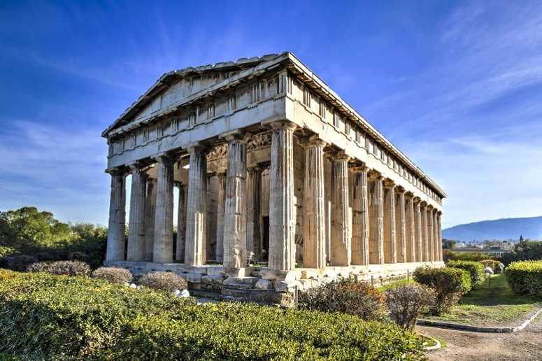 The ancient Greek temple of Hephaestus in Agora Complex, Athens.